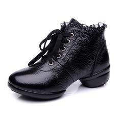 Mulheres Couro verdadeiro Botas Salsa Treino com Aplicação de renda Sapatos de dança (053065358)