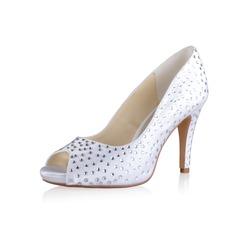 Women's Silk Like Satin Cone Heel Peep Toe Platform Sandals With Rhinestone