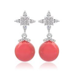 Beautiful Copper/Zircon/Platinum Plated Ladies' Earrings