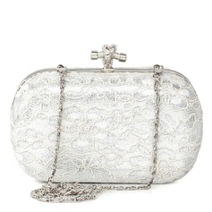 Elegant Stainless Steel With Lace Clutches/Cross-Body Bags/Shoulder Bags/Evening Handbags