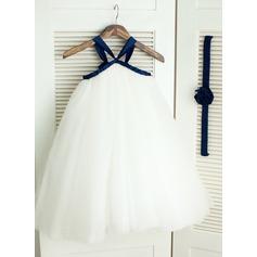 Ball Gown Knee-length Flower Girl Dress - Satin/Tulle Sleeveless Straps With Sash/Flower(s)