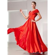 A-Linie/Princess-Linie Schulterfrei Bodenlang Charmeuse Festliche Kleid mit Rüschen Perlen verziert