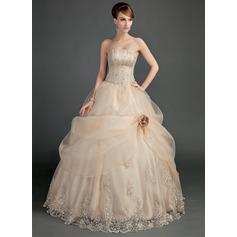 Duchesse-Linie Trägerlos Bodenlang Satin Organza Brautkleid mit Rüschen Spitze Perlen verziert Blumen