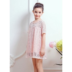 Short/Mini Flower Girl Dress - Lace Short Sleeves Scoop Neck With Lace