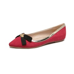 Women's Suede Flat Heel Flats Closed Toe With Bowknot shoes (086094913)