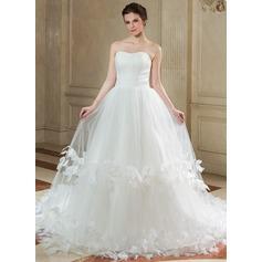Forme Marquise Bustier en coeur Traîne mi-longue Tulle Robe de mariée avec Plissé Fleur(s)
