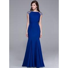 Trumpet/Mermaid Scoop Neck Floor-Length Chiffon Evening Dress With Beading