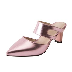 Women's Leatherette Chunky Heel Pumps Slippers shoes