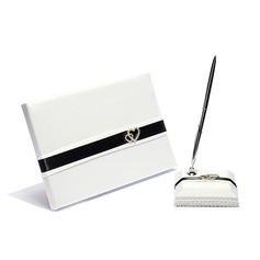 Double Hearts Satin Rhinestones/Sash Guestbook/Pen Set