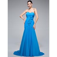 Trumpet/Mermaid Sweetheart Sweep Train Chiffon Evening Dress With Ruffle Beading Flower(s)