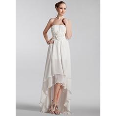 A-Line/Princess Strapless Asymmetrical Chiffon Wedding Dress With Ruffle Flower(s)