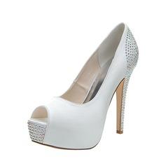 Women's Satin Stiletto Heel Peep Toe Pumps Sandals With Rhinestone