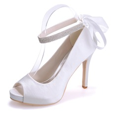 Women's Satin Stiletto Heel Peep Toe Platform Sandals With Rhinestone Lace-up