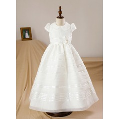 A-Line/Princess Floor-length Flower Girl Dress - Satin Short Sleeves Scoop Neck With Bow(s)