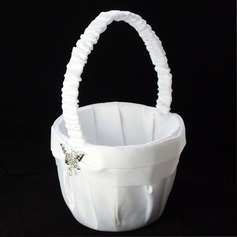 Beautiful Flower Basket in Satin with Butterfly Rhinestones & Sash