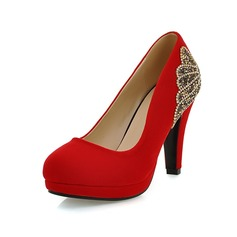 Suede Cone Heel Pumps Closed Toe With Sparkling Glitter shoes