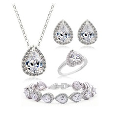 Sparking Copper/Zircon/Platinum Plated Ladies' Jewelry Sets