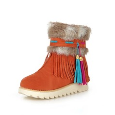 Leatherette Flat Heel Flats Closed Toe Ankle Boots Snow Boots With Tassel shoes