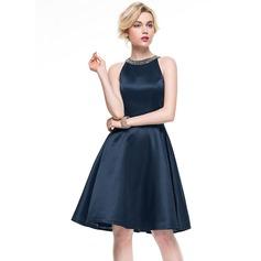 A-Line/Princess Scoop Neck Knee-Length Satin Cocktail Dress With Beading