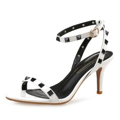 Women's Patent Leather Stiletto Heel Sandals Slingbacks With Rivet shoes