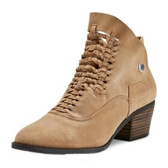 Women's Suede Low Heel Boots Ankle Boots With Lace-up shoes