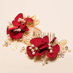 Gorgeous Alloy/Silk Flower Combs & Barrettes(Sold in a single piece)