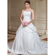 A-linjeformat Axelbandslös Court släp Taft Bröllopsklänning med Rufsar Spetsar Pärlbrodering Paljetter