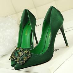 المرأة صقيل كعب ستيليتو مضخات تو مغلقة مع حجر الراين أحذية (085114804)