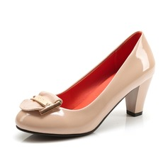 Imitação de couro Salto baixo Bombas Fechados com Lantejoulas sapatos