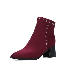 Women's Suede Chunky Heel Platform Ankle Boots Martin Boots With Rivet shoes