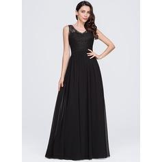 A-Line/Princess V-neck Floor-Length Chiffon Evening Dress