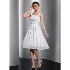 A-Line/Princess Square Neckline Knee-Length Chiffon Homecoming Dress With Ruffle Beading Appliques Lace (022014801)