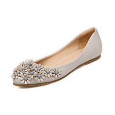 Leatherette Flat Heel Flats Closed Toe With Flower shoes
