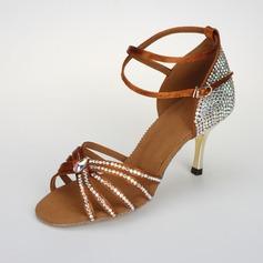 De mujer Satén Sandalias Salón Danza latina Sala de Baile Salsa con Rhinestone Tira de tobillo Hebilla Zapatos de Danza