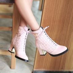 De mujer Cuero Tacón ancho Botas Botas al tobillo con Cordones zapatos