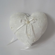 Heart Shaped Ring Pillow With Ribbons