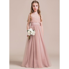 A-Line/Princess Sweetheart Floor-Length Tulle Junior Bridesmaid Dress (009087886)
