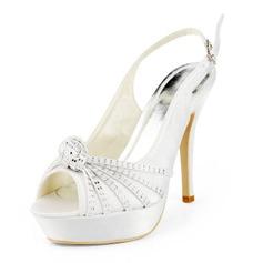 Pour femme Satiné Talon aiguille Bout ouvert Plateforme Sandales Chaussures à talon découvert avec Boucle Strass