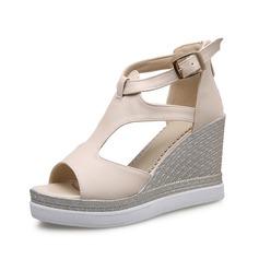 Women's Leatherette Wedge Heel Sandals Peep Toe shoes