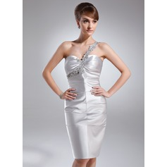 Sheath/Column One-Shoulder Knee-Length Charmeuse Cocktail Dress With Ruffle Beading Appliques Lace