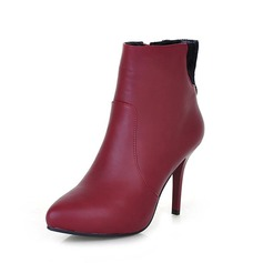 Leatherette Stiletto Heel Ankle Boots shoes