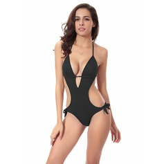 Sexy Solid Color One-piece (202082072)