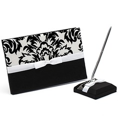 Classic Black & White Bow/Flower Guestbook & Pen Set