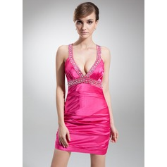 Sheath/Column V-neck Short/Mini Charmeuse Cocktail Dress With Ruffle Beading