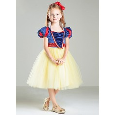 A-Line/Princess Knee-length Flower Girl Dress - Tulle Short Sleeves Square Neckline/High Neck