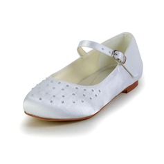 Kids' Satin Flat Heel Closed Toe Flats With Buckle Rhinestone