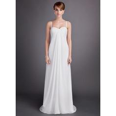 Forme Empire Bustier en coeur alayage/Pinceau train Mousseline Robe de mariée avec Plissé Emperler