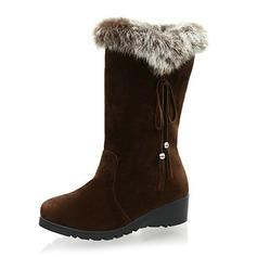ante Tacón Plano Botas Longitud Media Botas de nieve con Pelo zapatos