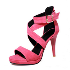 Leatherette Stiletto Heel Pumps Peep Toe With Buckle shoes