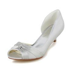 Women's Satin Cone Heel Peep Toe Pumps With Ruffles
